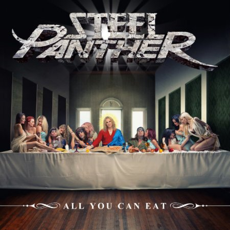 "Capa de ""All You Can Eat"", o mais recente álbum do Steel Panther"