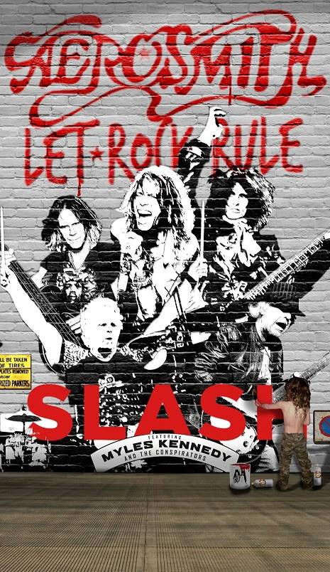 "Pôster da turnê  ""Let Rock Rule"", que reunirá Aerosmith e Slash"