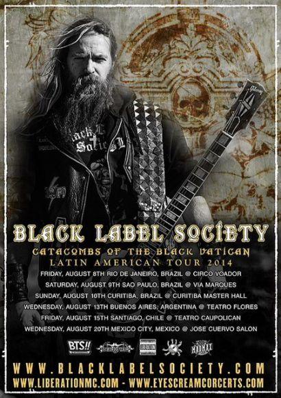 Pôster da nova turnê do Black Label Society pela América Latina