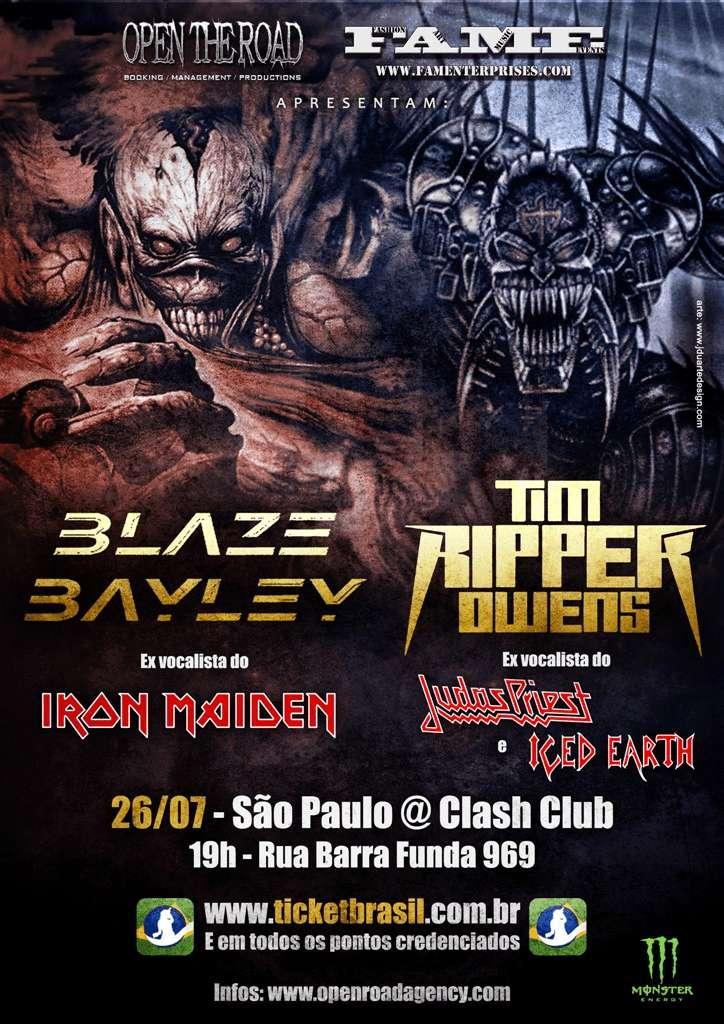 """Blaze Bayley e Tim """"Ripper"""" Owens: alterações no show de São Paulo"""