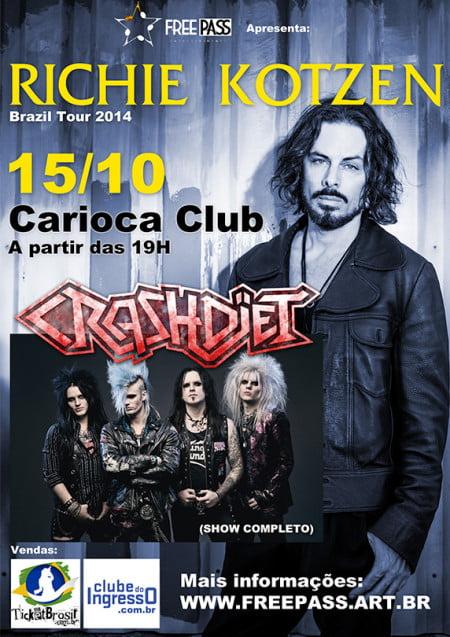Pôster do show único do Crashdïet com Richie Kotzen em outubro
