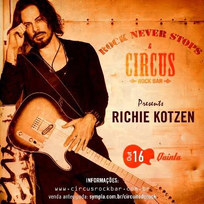 Cartaz da apresentação de Richie Kotzen em BH