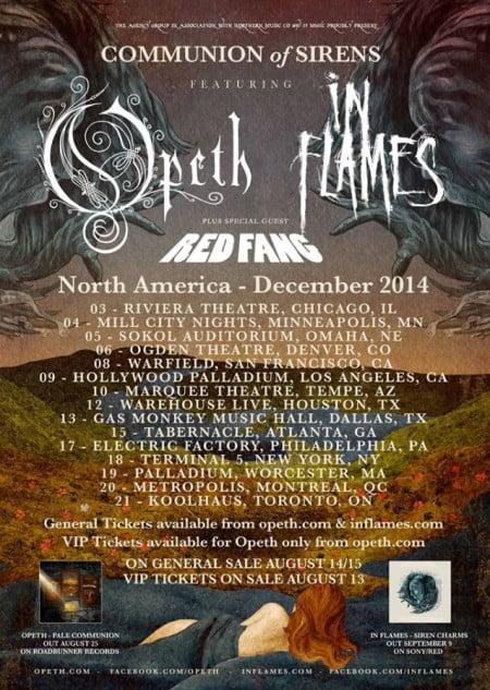 Cartaz da turnê conjunta que o Opeath e o In Flames farão em dezembro na América do Note em dezembro