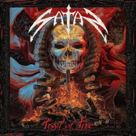 "Capa de ""Trail of Fire - Live in North America"", o novo álbum ao vivo do Satan"