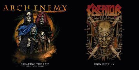 Arte gráfica do split 7″ a ser lançado por Arch Enemy e Kreator na futura turnê