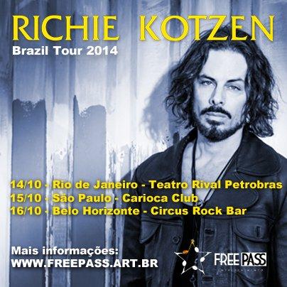 Flyer da nova turnê brasileira de Richie Kotzen