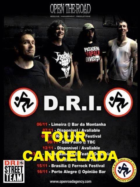 D.R.I.: informações oficiais sobre o cancelamento da tour brasileira