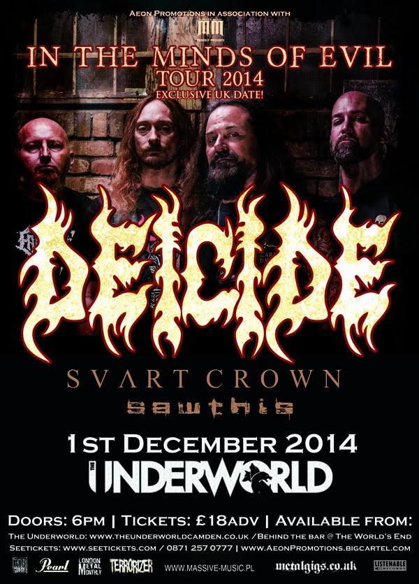 Deicide: banda fará única apresentação na Inglaterra, em dezembro