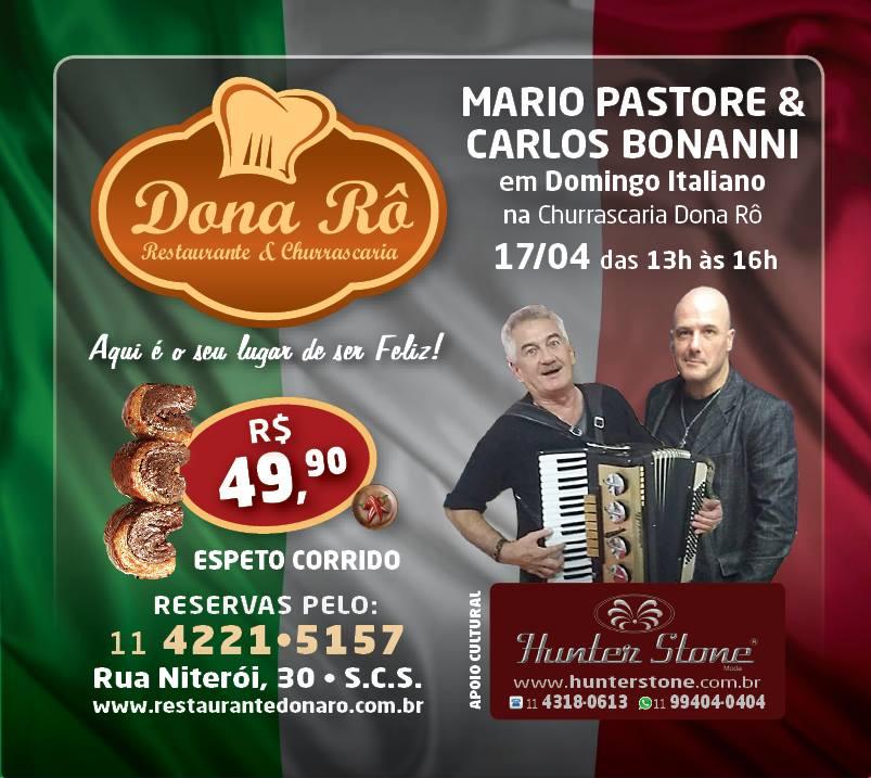 Mario Pastore canta música italiana em evento com o maestro Carlos Bonanni