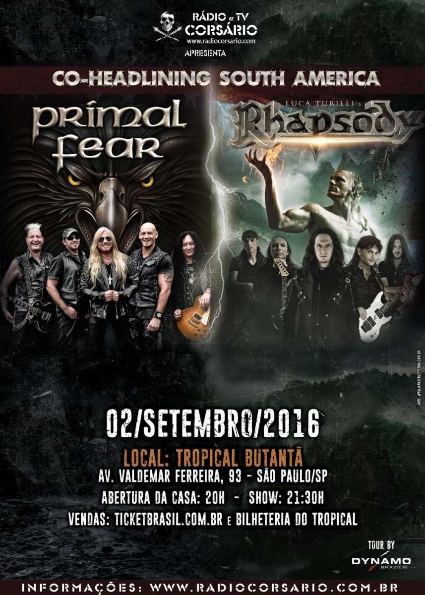 Primal Fear e Luca Turilli's Rhapsody: bandas fazem encontro histórico, nesta sexta-feira, em São Paulo