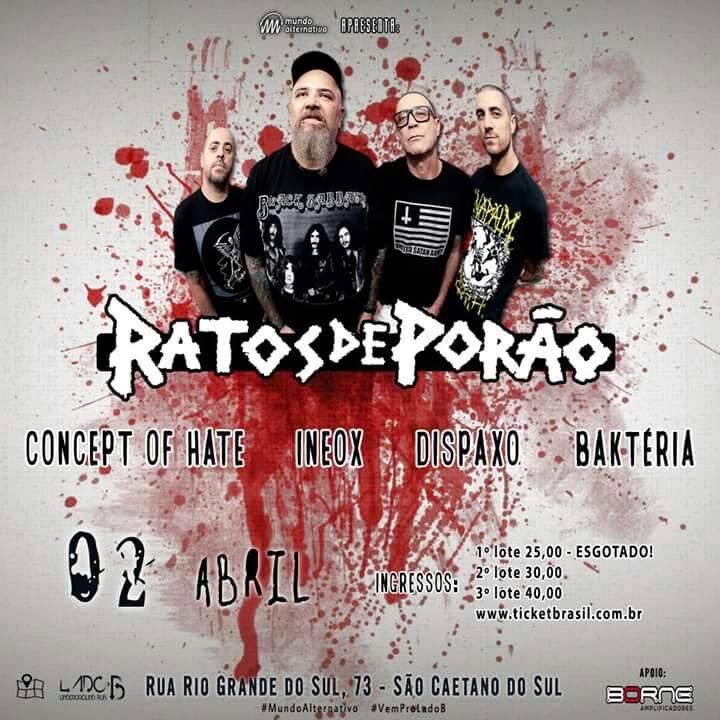Concept of Hate: banda se apresenta ao lado da lendária banda brasileira Ratos de Porão