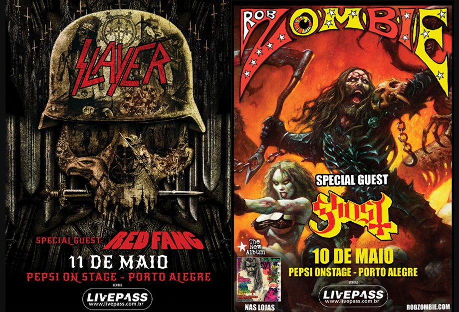 Slayer e Rob Zombie: bandas confirmam shows em Porto Alegre