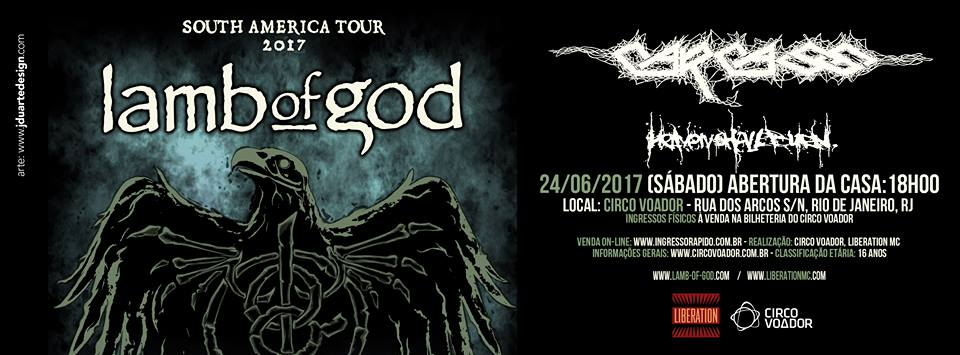Lamb Of God, Carcass e Heaven Shall Burn: show no Rio de Janeiro em junho