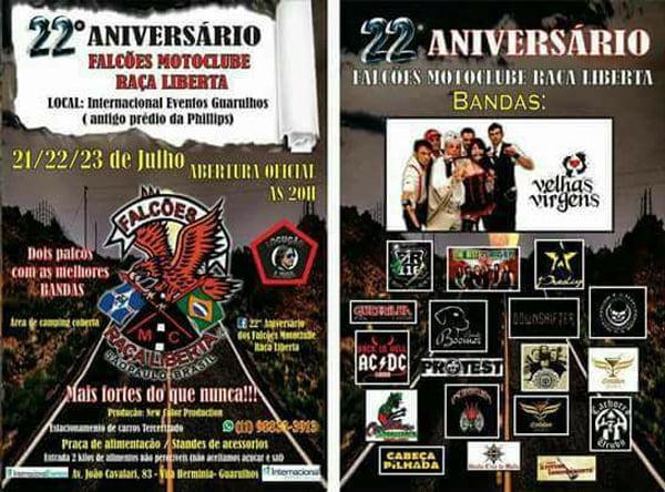 Dudé e a Máfia: banda se apresenta no aniversário do motoclube Falcões Raça Liberta