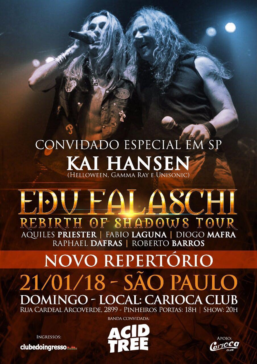 """Edu Falaschi confirma participação de Kai Hansen do Helloween em show de São Paulo da """"Rebirth of Shadows Tour"""""""