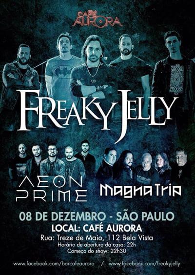 Freaky Jelly confirma show com as bandas Aeon Prime e Magna Trip no Café Aurora em SP nesta sexta-feira