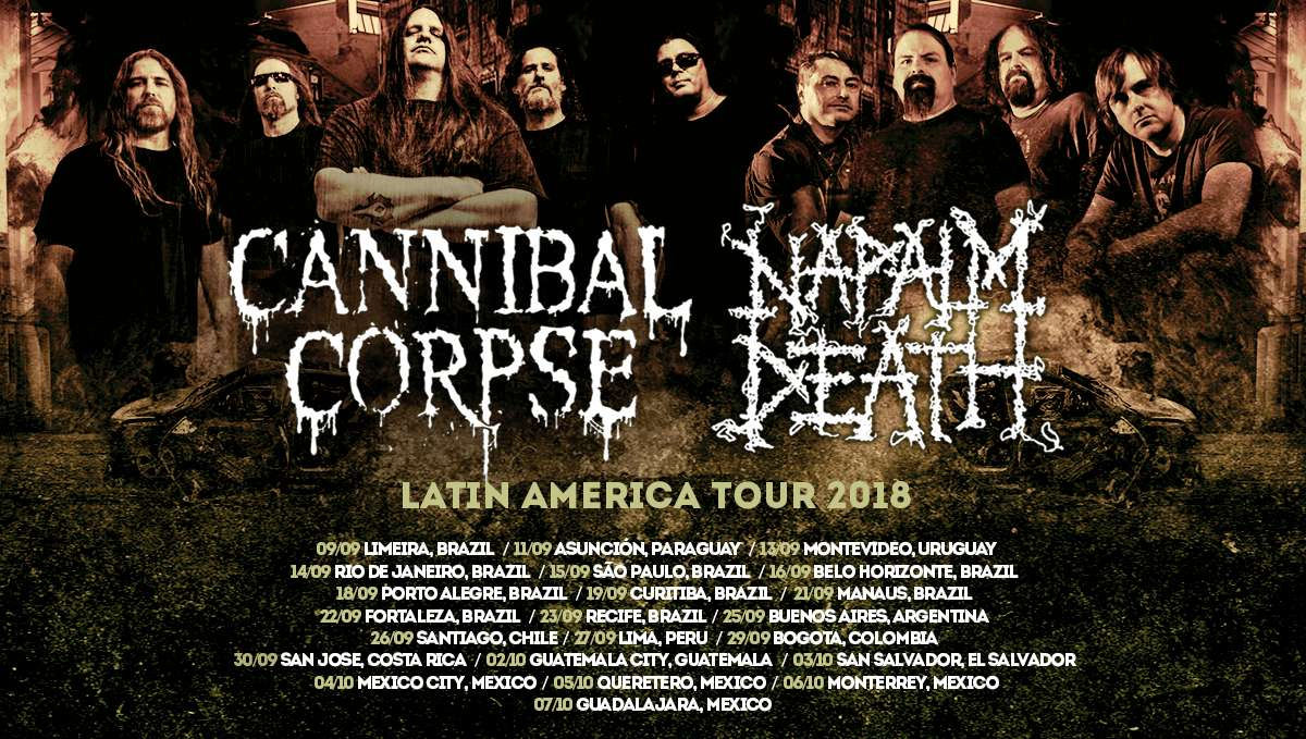 Cannibal Corpse & Napalm Death: hotsite com informações da turnê na América Latina