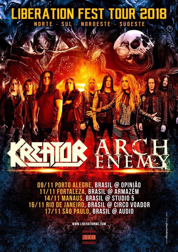 Kreator e Arch Enemy confirmam cinco shows no Brasil