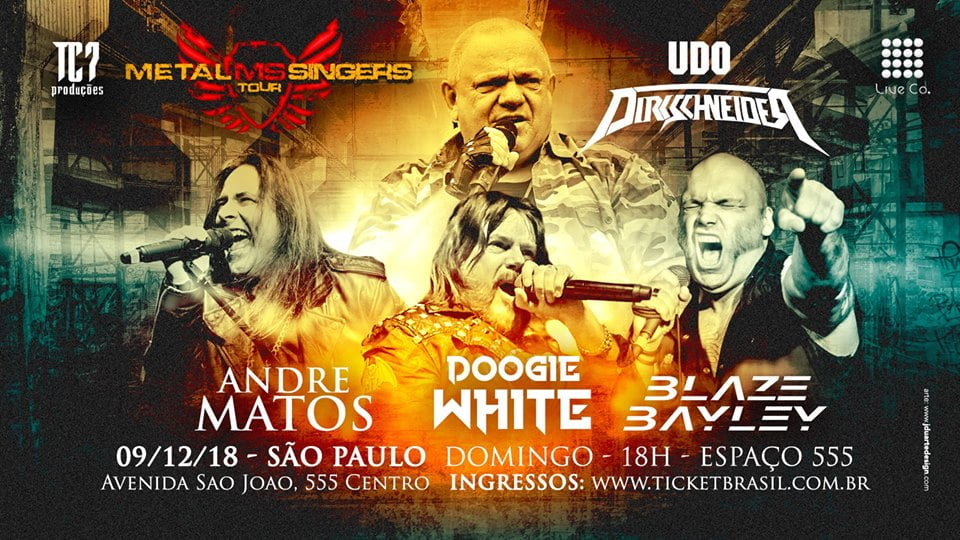 Metal Singers: Udo, Blaze Bayley, André Matos e Doogie White tem show em São Paulo em dezembro
