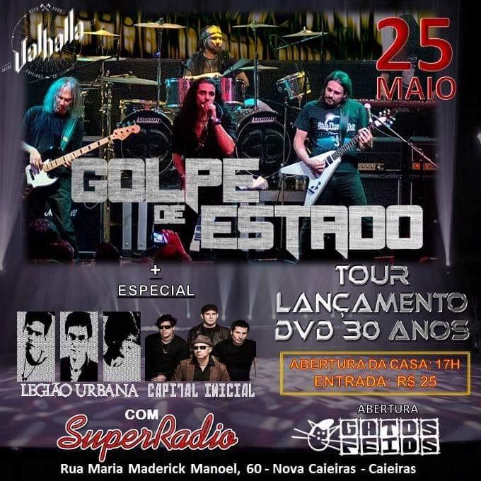 Golpe de Estado faz show em Caieiras/SP neste sábado