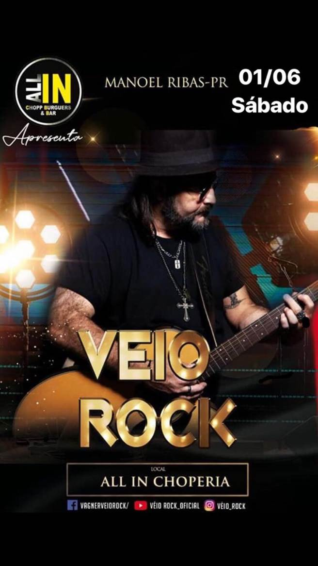Veio Rock se apresenta dia 01 de junho em Manoel Ribas/PR