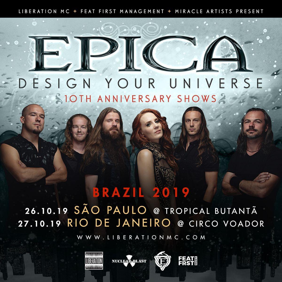 """Epica envia mensagem aos fãs para shows da histórica """"Design Your Universe – 10th Anniversary Tour 2019"""" na América Latina"""