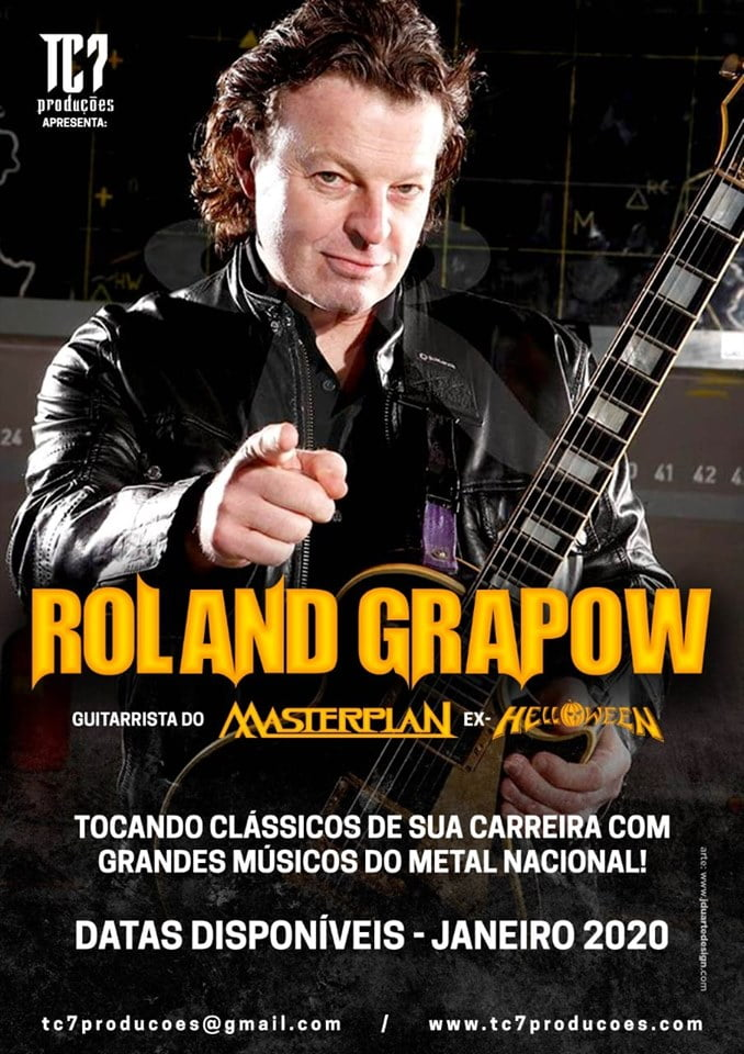 Roland Grapow: Clássicos do Helloween e Masterplan no Brasil em janeiro de 2020