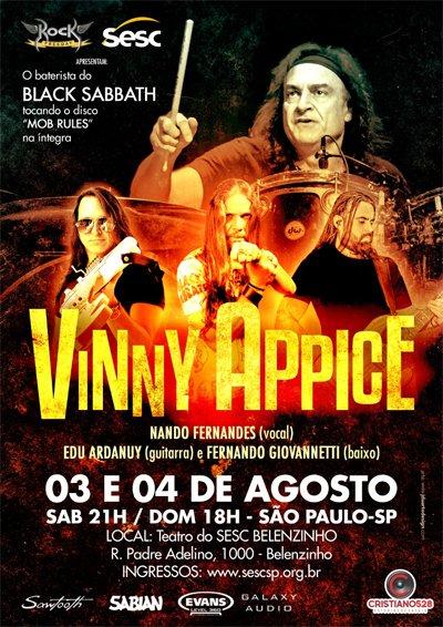 Vinny Appice apresenta a Mob Rules Tour no Sesc Belenzinho nos dias 3 e 4 de Agosto