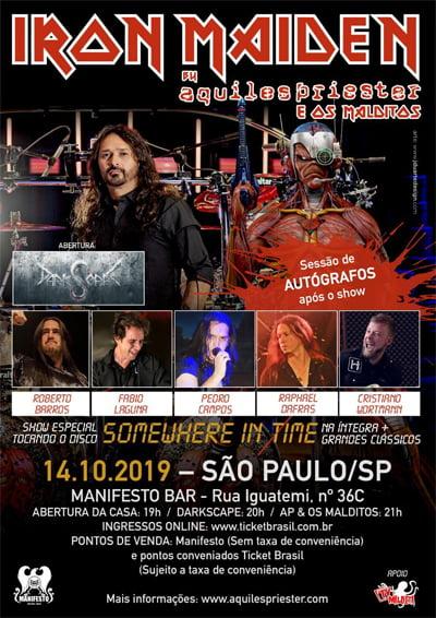 Aquiles Priester & Os Malditos confirmam show em SP, no Manifesto Bar, apresentando clássicos do Iron Maiden