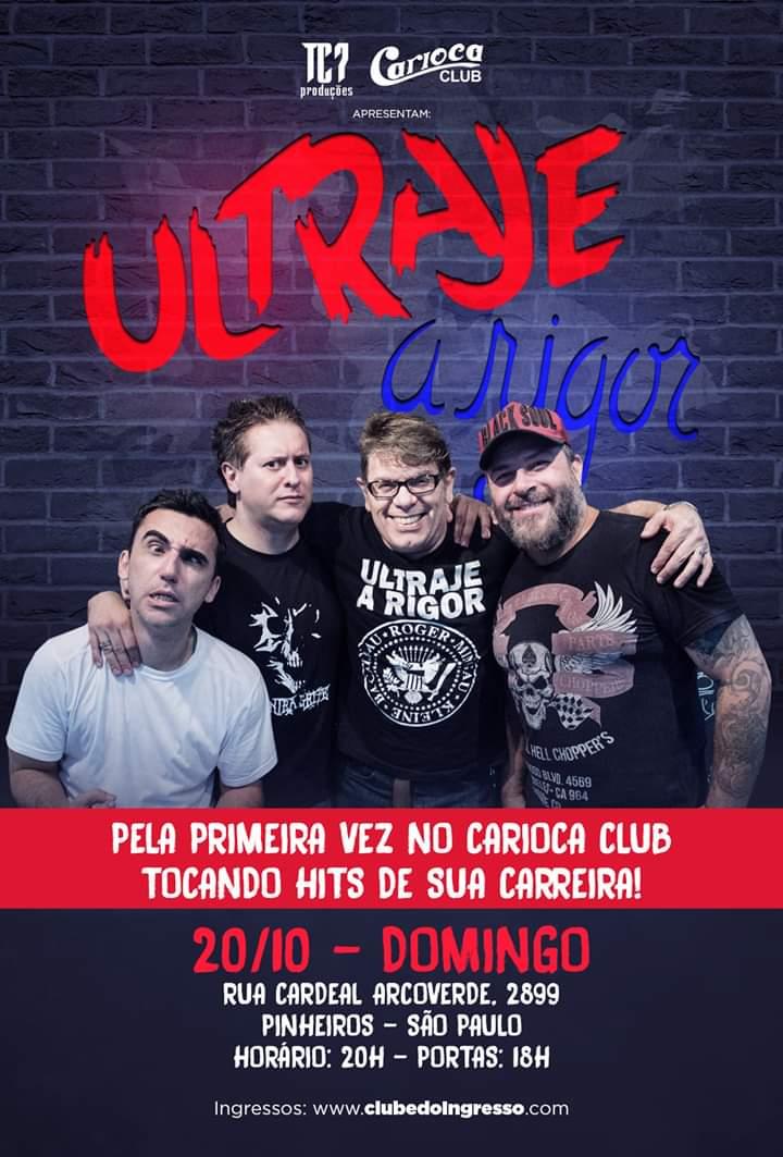 Ultraje a Rigor: Banda faz show no Carioca Club neste domingo