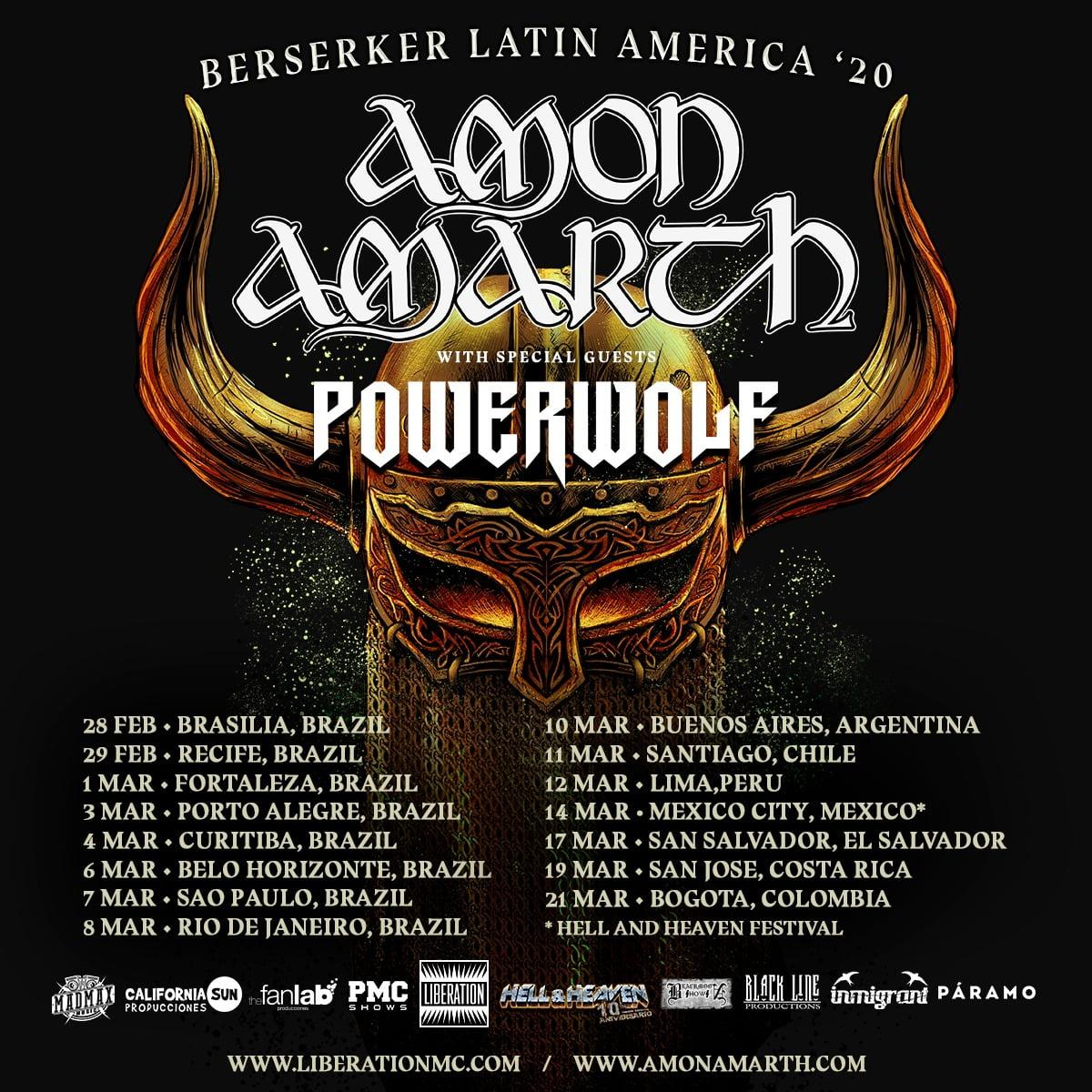 Amon Amarth e PowerWolf em grande tour pela América Latina.