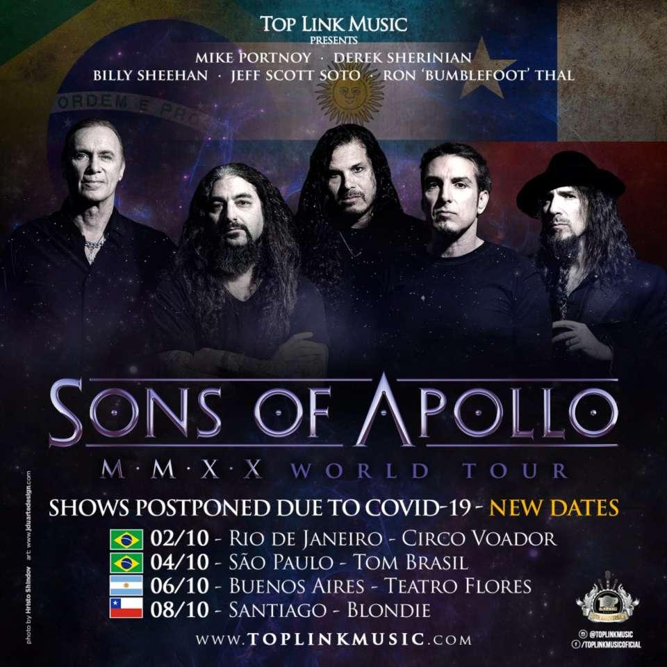 Turnê do Sons of Apollo é adiada novamente, Confira as novas datas!