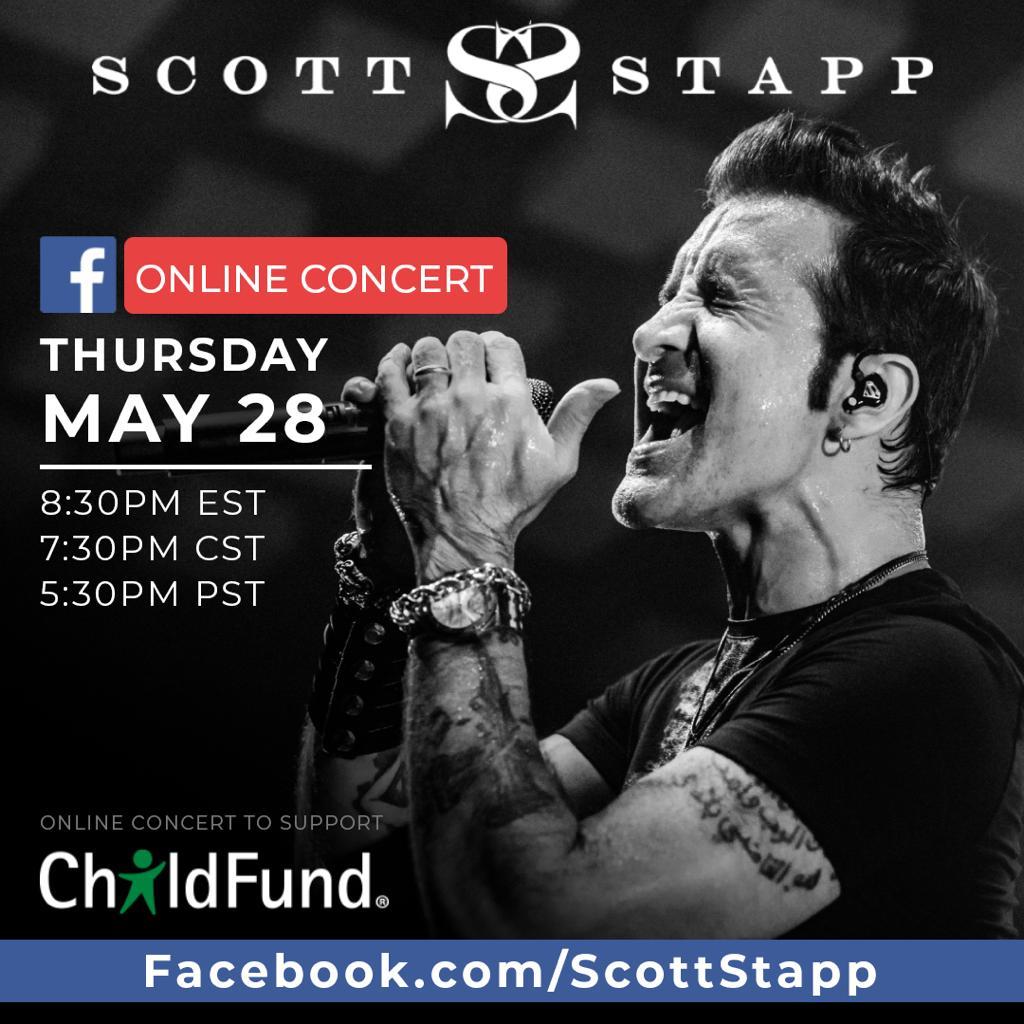 Scott Stapp fará show online nesta Quinta-feira em seu Instagram