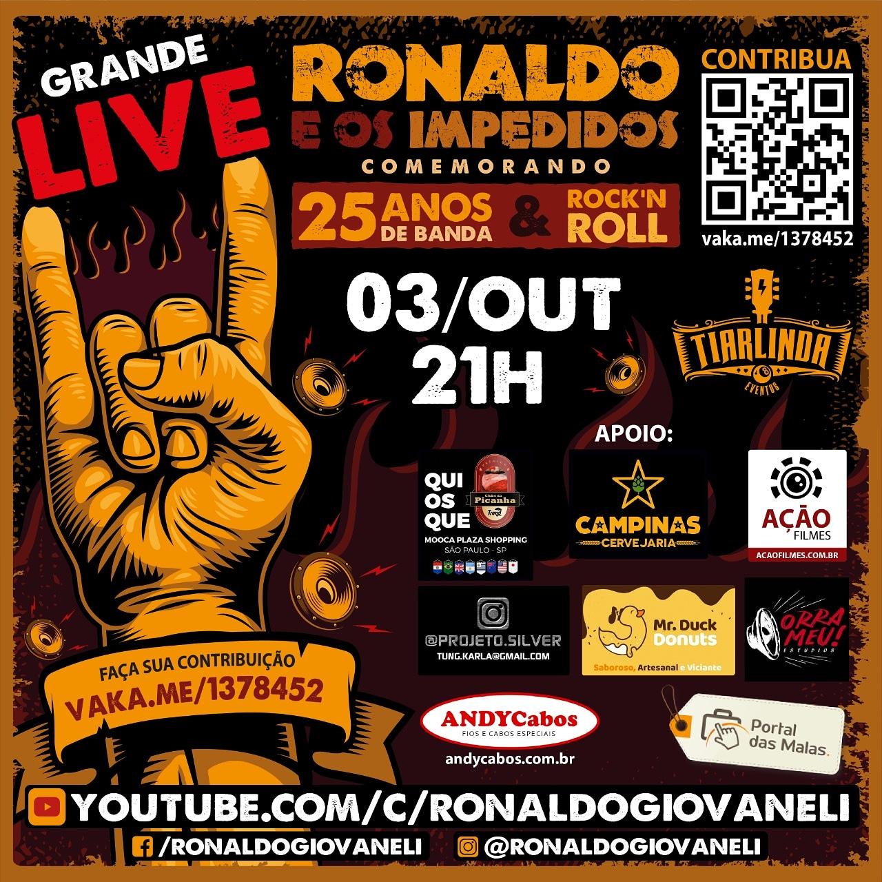 Ronaldo e os Impedidos comemoram 25 anos com Live neste sábado