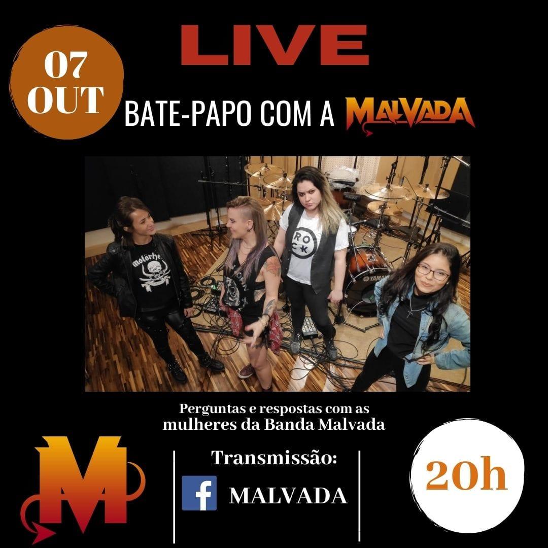 Malvada fará Live em sua página do Facebook nesta quarta